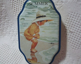 Vintage Summer Good Housekeeping Tin Container with 1918 Advertising Collectible Yellow Blue