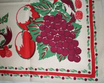 Vintage Mid Century Cotton  Table Cloth - Fruit A Plently