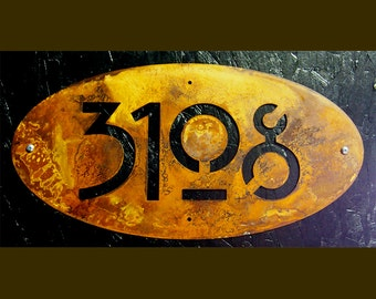 "CUSTOM Mission Style House Numbers 18"" Oval Rusted Steel"