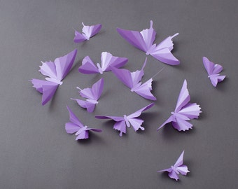 3D Butterfly Wall Art: Lilac Purple Metallic Butterfly Silhouettes for Girls Room, Nursery, and Home Decor