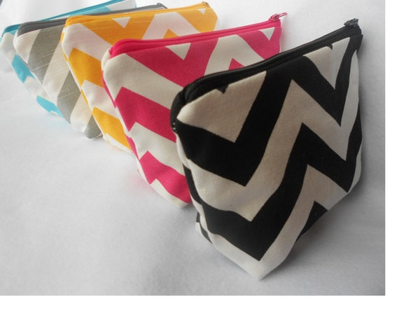 Chevron Zipper Pouch/Makeup Bag - bridesmaid gift, gift for her