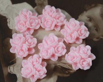 20pcs  Wholesale Beautiful Colorful Rose Flower Resin Cabochon  --15mm(CAB-BP-13)
