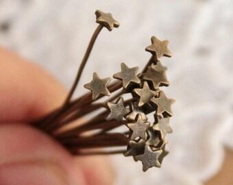 50pcs Nickel Free - 30mm Long Antique Bronze Star End Headpins   -( JUR-217)