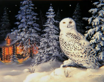 Snowy Owl cabin snow original 30x40 oils on canvas painting by RUSTY RUST / O-35