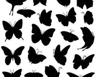 Butterfly Silhouettes Clipart Clip Art, Butterfly Clipart Clip Art Vector - Commercial and Personal Use