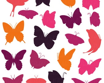 Butterfly Silhouettes Photoshop Brushes, Butterfly Photoshop Brush - Commercial and Personal Use