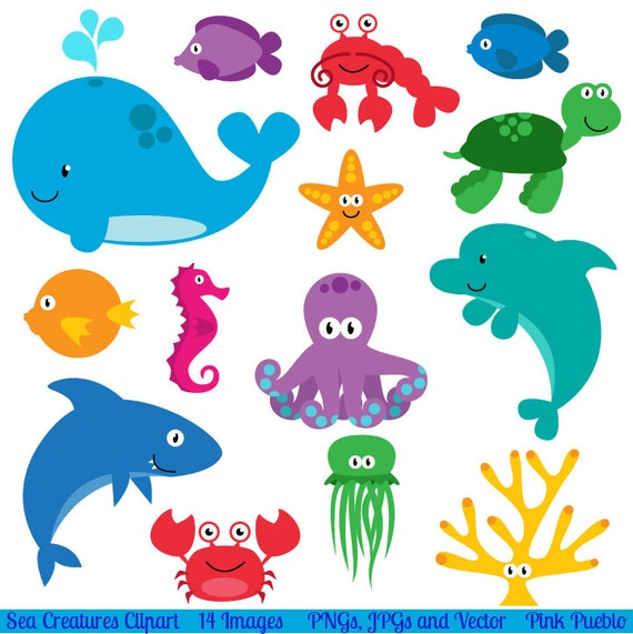 sea animal clipart sea animal clip art sea creatures fish rh etsy com free ocean clipart free clipart ocean waves cartoon