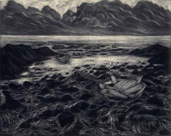 Pale Storm and Broken Beehive - Original Mezzotint