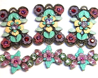 Six 2 Hole Slider Beads Siam Amethyst Peridot Fuchsia & Lilac Austrian Crystal Fancy Victorian Flowers Garden Floral Renaissance Botanical