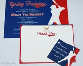 PRINTABLE - Baseball Birthday Party Invitation with Custom Text, Thank You Note and Favor Tag Design Bundle Pack