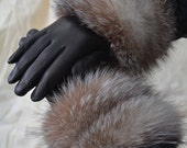 Genuine Leather Gloves with Genuine Crystal Fox Fur