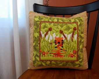 Tiger, Jungle Pillow, Children's Bedding, Safari Animals