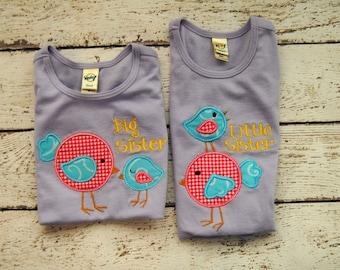 Big Sister Little Sister Bird Applique Sibling Shirt or Bodysuit