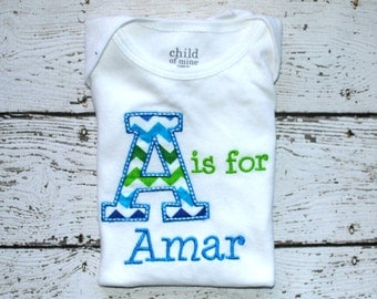 Boy's Personalized Initial Shirt or Bodysuit