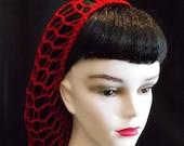Red Rockabilly Snood Hair Net