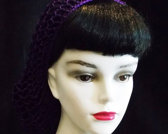 Purple Rockabilly Snood Hair Net