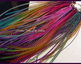 """Colorful Feather Hair Extensions Bright Hair Feather Extensions Super Long Real Feathers Multicolor Brights diy Hair Kit, QTY20 10-14"""""""