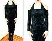 90s Halter Black Velvet Body CON Dress, Medium/ Vintage 90s Black Velvet Prom Dress