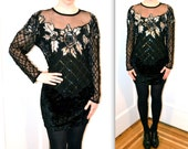 Vintage Black Sequin Shirt Size Large// Art Deco Inspired Black Beaded Illusion Top Size Large by Laurence Kazar