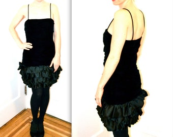 Vintage Black Velvet Dress Size Medium// Black 90s Party Dress by Ungaro Ter