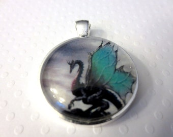 Dragon Pendant Silver and Aqua Glass Pendant