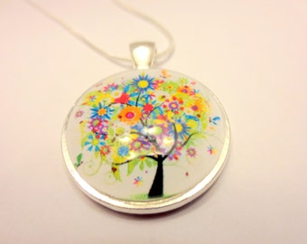Tree of Flowers Beautiful Pendant with colorful flowers Glass Pendant for necklace Unique