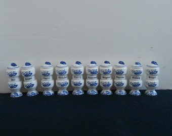 Set 10 Delft Spice Jars Japan Circa 1970s