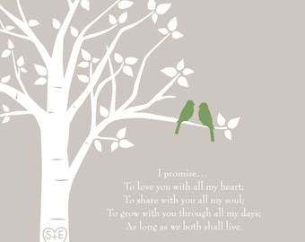 """Custom Wedding Vows Love Birds Family Tree - First Anniversary Paper Gift - Gift for Wife - Wedding Gift -  11""""x14"""""""
