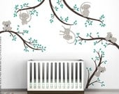 Monkey and Koala Tree Branches Wall Decal Bundle by LittleLion Studio