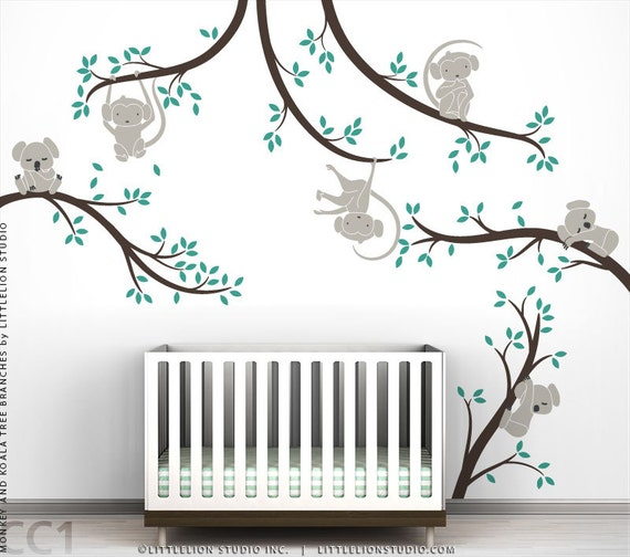 Monkey and koala tree branches wall decal bundle by littlelion - Deco mural chambre bebe ...