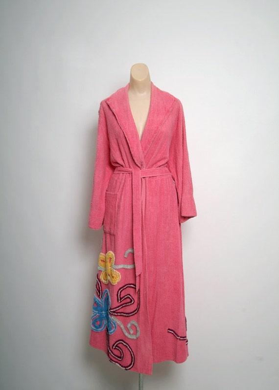 Vtg 40s 50 Pink Chenille Wrap Style Long Length