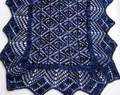 Knit Wrap Pattern:  Torchon Bordered Biscayne Lace Shawl Knitting Pattern
