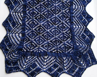 Knit Wrap Pattern:  Torchon Bordered Biscayne Lace Shawl Knitting Pattern