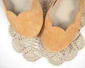 READY to SHIP ! 15% OFF ! Size 36 --- Peach Soft Suede Scalloped Handmade Ballet Flats