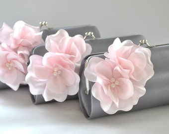 Set of 5 Small Bridesmaids clutches / Wedding clutch - CUSTOM COLOR