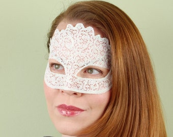 SHEER MASK- White Lace Glitter- masquerade mask, Mardi Gras, ballroom, fairy, Venetian, Halloween, tattoo