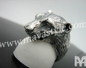 Sterling Silver Grizzly Bear Ring Animal  Bague d'Ours