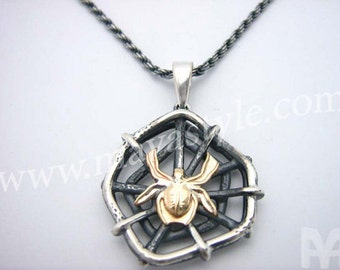 Sterling Silver & Gold Spider Pendant