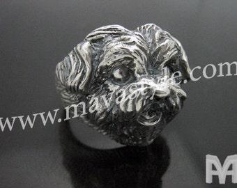 Sterling Silver Bichon Maltese Ring