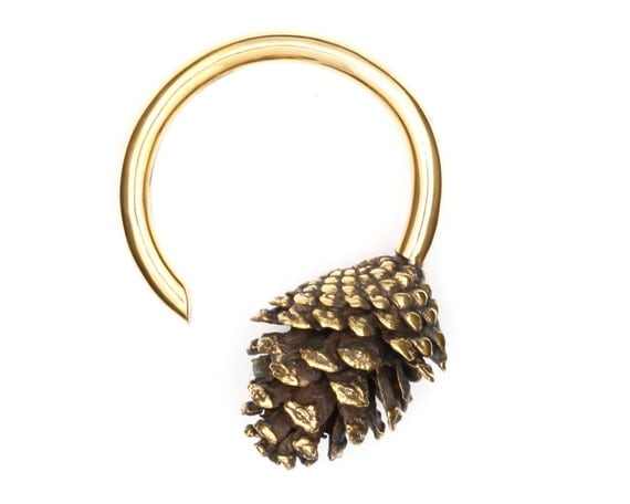 Pine Cone Weights - Gauged Earrings - Ear Weights - Stretched Lobes