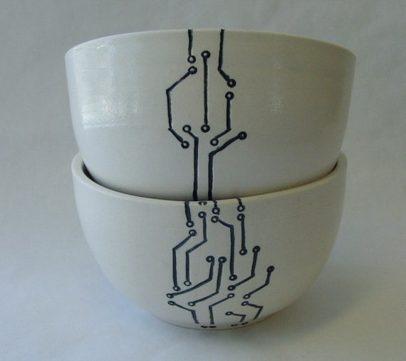 Two Circuit Board and Topography Porcelain Bowls