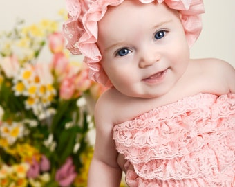 Vintage inspired coral pink lace hat, baby girl hat, baby beanie hat to match our petti lace rompers.