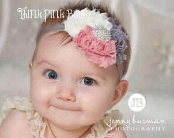 Baby Headband,Newborn Headband, Baby girl Headband,Shabby chic Headband, Baby Headbands,Headband,Vintage Inspired Headband,Baby Bows.