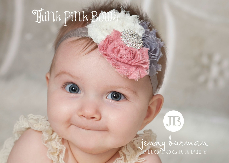 Baby headbandnewborn headband baby girl headbandshabby chic - Diademas para ninas ...