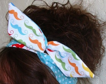 Mustache Wire Headband Dolly Bow Reversible on Teal Polka Dots, Pin Up Rockabilly Hair Accessory for Teens Women girls