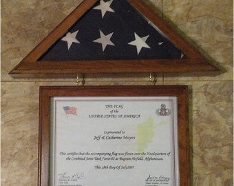 "NEW Walnut or Oak Flag Display Case for 3x5 Capitol Flag, Matching 8-1/2"" x 11"" Certificate Frame"
