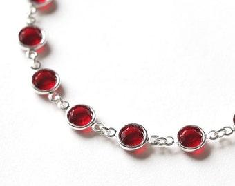 Garnet Bracelet, January Birthstone Jewelry, Red Jewelry, Crystal & Silver, January Birthstone Bracelet