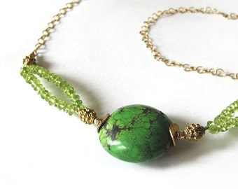 Elegant Green Peridot vintageTurquoise Necklace, 14k gold chain Birthstone jewelry natural gemstone OOAK necklace fine jewelry gift for her