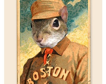 Baseball decor - Kid Squirrely of the Boston Beaneaters - Vintage old time baseball card print Boys Room Man Cave sports decor
