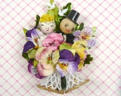 Vintage Wedding Happy Couple Corsage Wedding Shower Anniversary Spring Pansy Flowers Decoration Spun Cotton